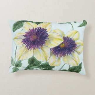 Clematis Flower Art Accent Pillow