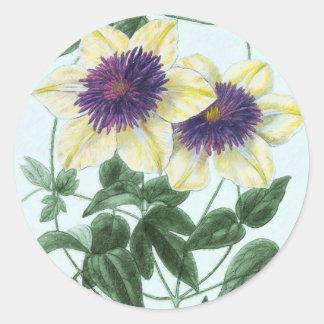 Clematis Flower Art Classic Round Sticker