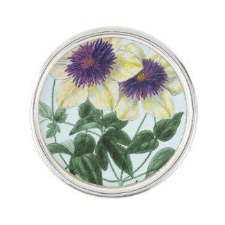 Clematis Flower Art Lapel Pin