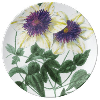 Clematis Flower Art Plate
