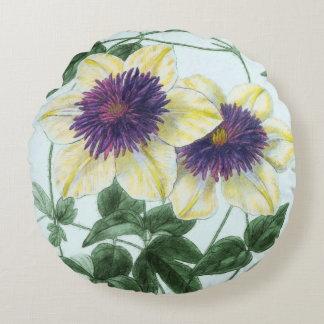 Clematis Flower Art Round Pillow