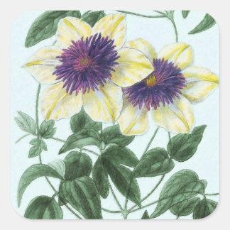 Clematis Flower Art Square Sticker