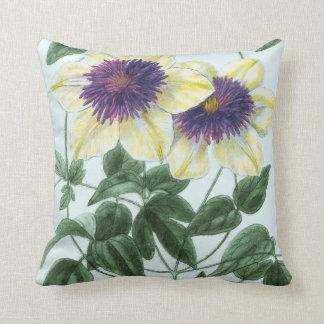 Clematis Flower Art Throw Pillow