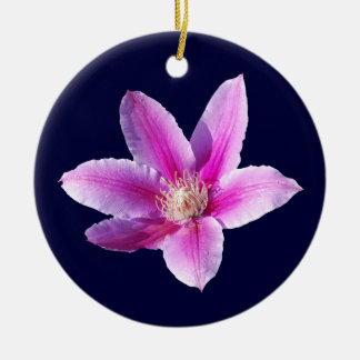 Clematis Flower Double-Sided Ceramic Round Christmas Ornament