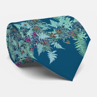 Clematis Flowers Fern Leaves Floral Christmas Tie