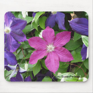 Clematis Flowers Mouse Pad