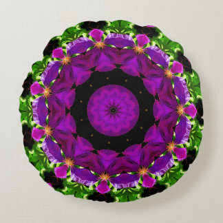 Clematis Kaleidoscope Round Pillow