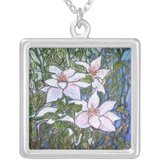 Clematis Square Pendant Necklace