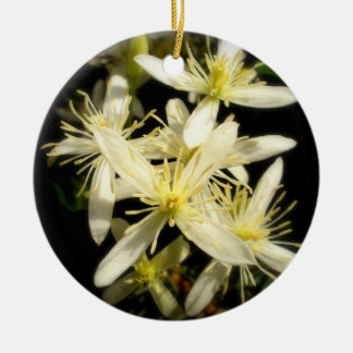 Clematis Double-Sided Ceramic Round Christmas Ornament