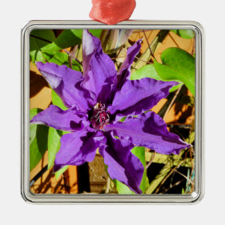 CLEMATIS SQUARE METAL CHRISTMAS ORNAMENT