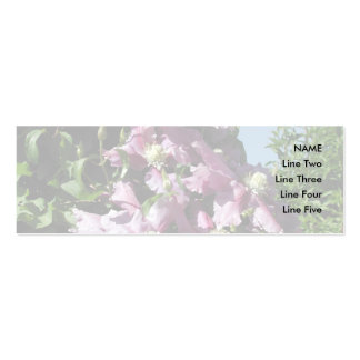 Clematis. Pink Flowers, and blue sky. Business Card