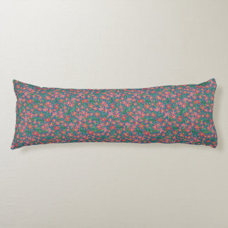 Clematis Pink, Red, Orange Floral on Deep Blue Body Pillow