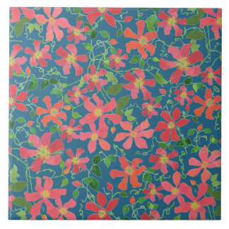 Clematis Pink, Red, Orange Floral on Deep Blue Ceramic Tiles