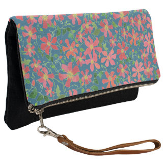 Clematis Pink, Red, Orange Floral on Deep Blue Clutch