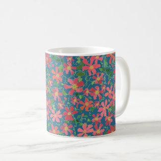 Clematis Pink, Red, Orange Floral on Deep Blue Coffee Mug