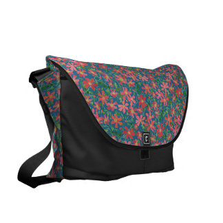 Clematis Pink, Red, Orange Floral on Deep Blue Courier Bag