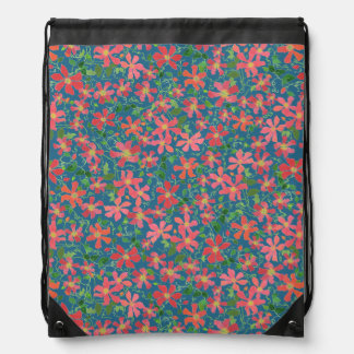 Clematis Pink, Red, Orange Floral on Deep Blue Drawstring Bag