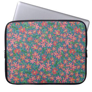 Clematis Pink, Red, Orange Floral on Deep Blue Laptop Sleeve