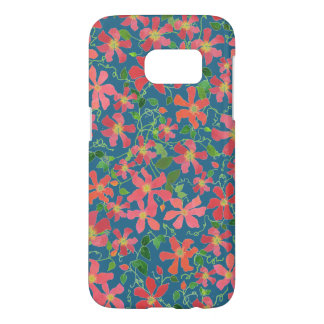 Clematis Pink, Red, Orange Floral on Deep Blue Samsung Galaxy S7 Case