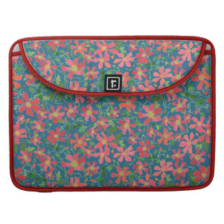 Clematis Pink, Red, Orange Floral on Deep Blue Sleeve For MacBooks