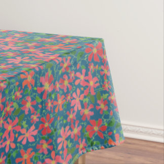 Clematis Pink, Red, Orange Floral on Deep Blue Tablecloth