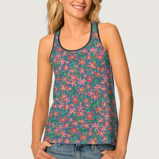 Clematis Pink, Red, Orange Floral on Deep Blue Tank Top