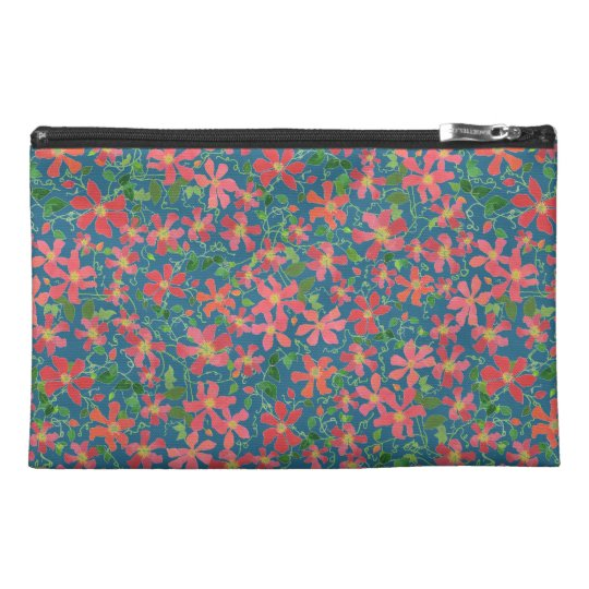 Clematis Pink, Red, Orange Floral on Deep Blue Travel Accessory Bag
