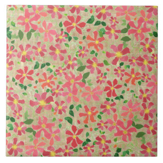Clematis Pink, Red, Orange Floral Pattern on Taupe Ceramic Tiles