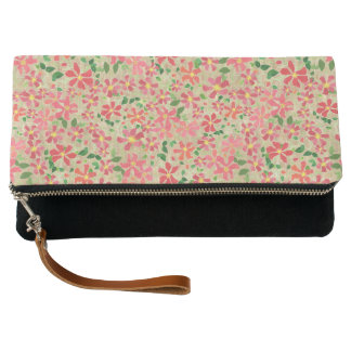 Clematis Pink, Red, Orange Floral Pattern on Taupe Clutch