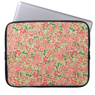Clematis Pink, Red, Orange Floral Pattern on Taupe Laptop Sleeve
