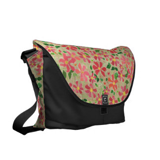 Clematis Pink, Red, Orange Floral Pattern on Taupe Messenger Bags