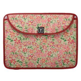 Clematis Pink, Red, Orange Floral Pattern on Taupe Sleeve For MacBook Pro