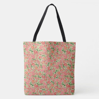 Clematis Pink, Red, Orange Floral Pattern on Taupe Tote Bag