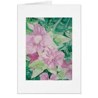 clematis red & purple greeting card
