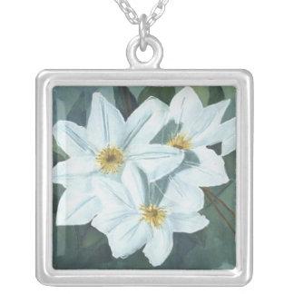 Clematis square square pendant necklace