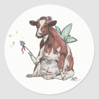 Clementine the Fairy Cow Classic Round Sticker