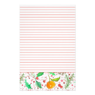 Clementines Cranberries Holly Red Lined Stationery