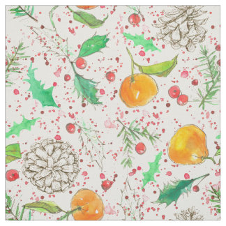 Clementines Cranberries Pine Cones Holiday Fabric