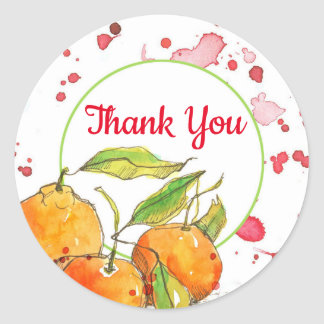 Clementines Watercolor Fruit Thank You Classic Round Sticker