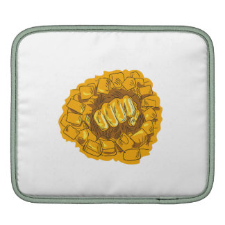 Clenched Fist Breaking Brick Stone Wall Drawing Sleeves For iPads