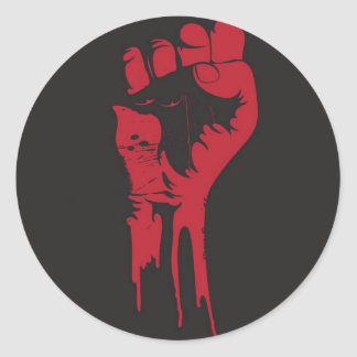 clenched fist classic round sticker