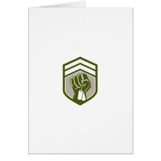 Clenched Fist Dogtag Crest Retro Card