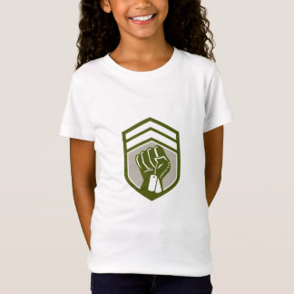 Clenched Fist Dogtag Crest Retro T-Shirt