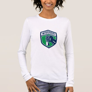 Clenched Fist Dogtag Warrior Crest Retro Long Sleeve T-Shirt