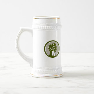 Clenched Fist Holding Dogtag Circle Retro Beer Stein