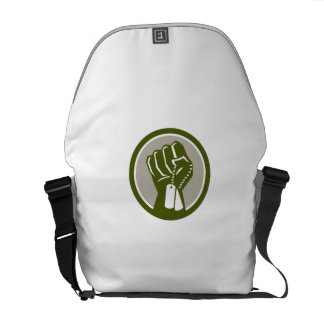 Clenched Fist Holding Dogtag Circle Retro Commuter Bags