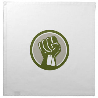 Clenched Fist Holding Dogtag Circle Retro Napkin