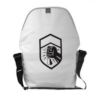 Clenched Fist Holding Dogtag Crest Retro Courier Bag