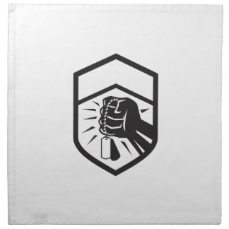 Clenched Fist Holding Dogtag Crest Retro Napkin
