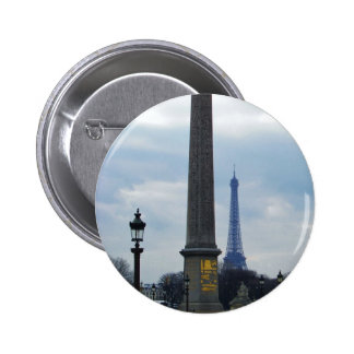 Cleopatra s Needle and Eiffel Tower Pinback Button